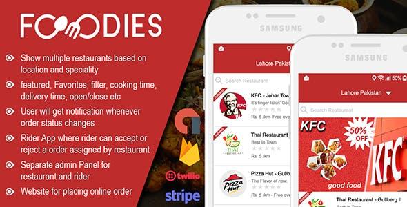 دانلود سورس اپلیکیشن سفارش غذا و تحویل foodies Delivery | دانلود رایگان اپلیکیشن سفارش رستوران