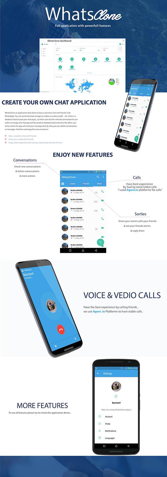 سورس اپلیکیشن پیام رسان مشابه واتس آپ | WhatsClone Messenger